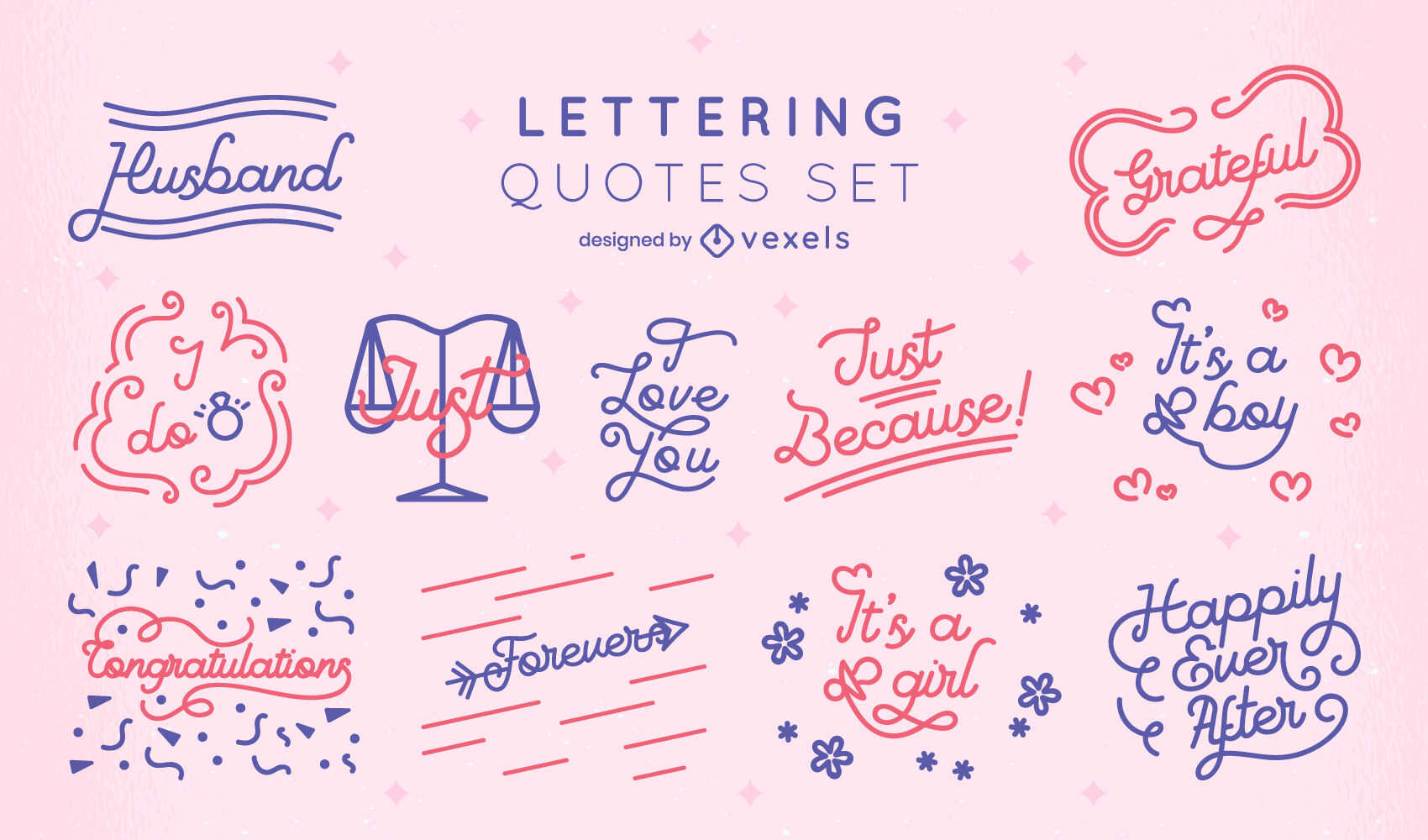 Wedding & baby quotes lettering set