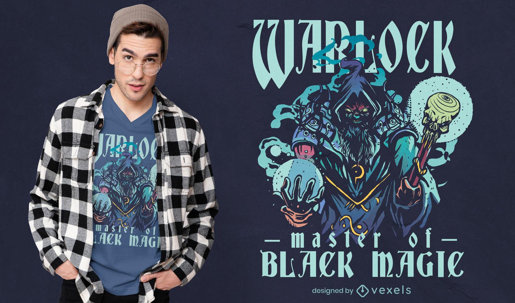 Warlock black magic t-shirt design