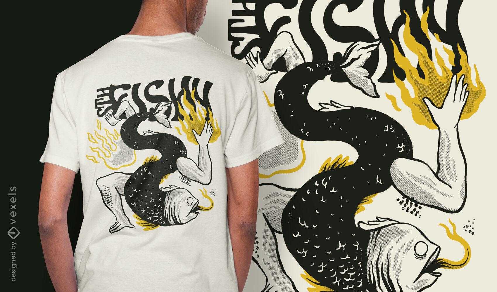 Diseño de camiseta de animal de cuerpo de pez extraño