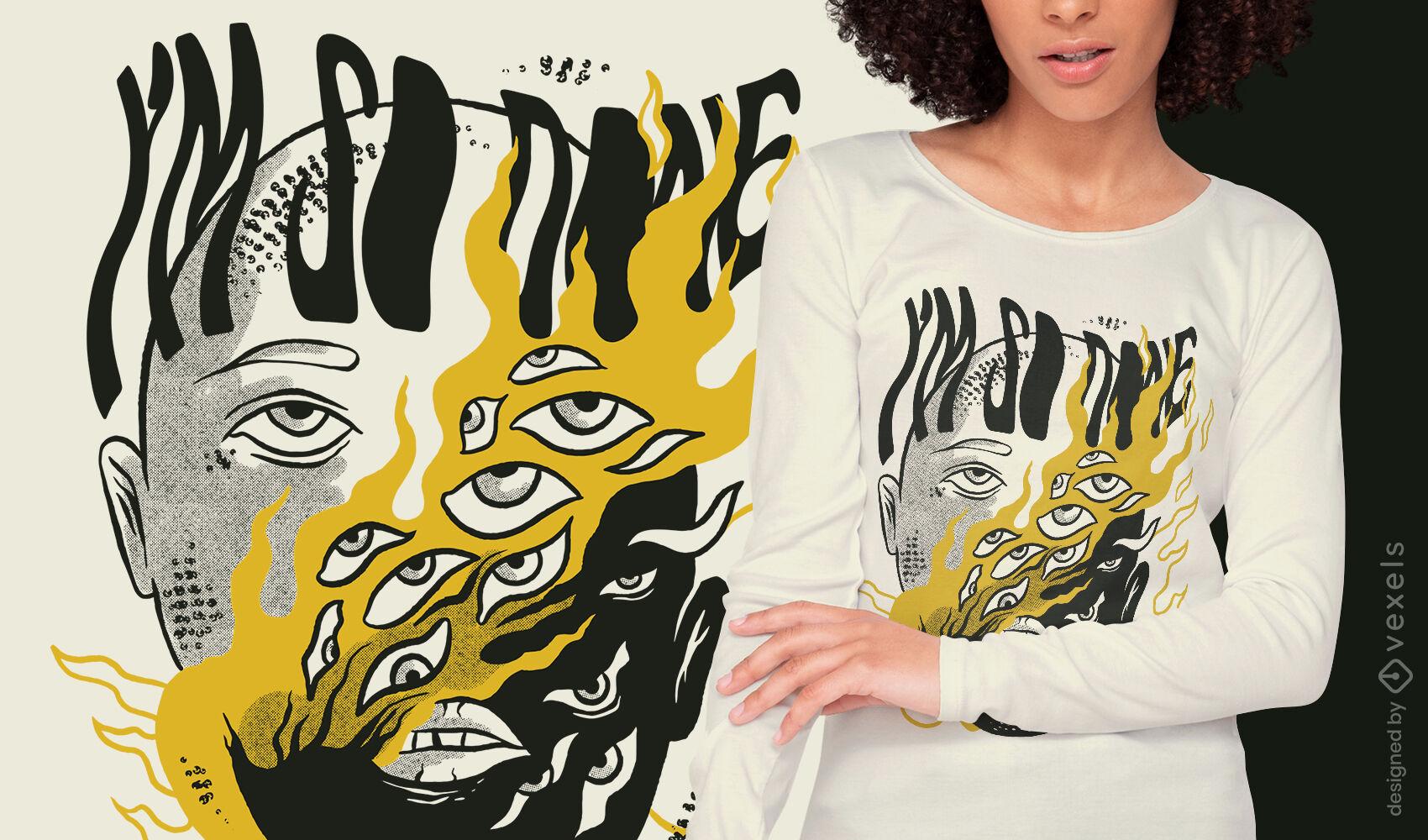 Bizarre body eyes on fire t-shirt design