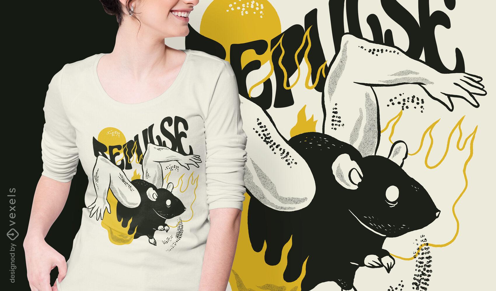 Diseño de camiseta de animal de cuerpo de rata extraño