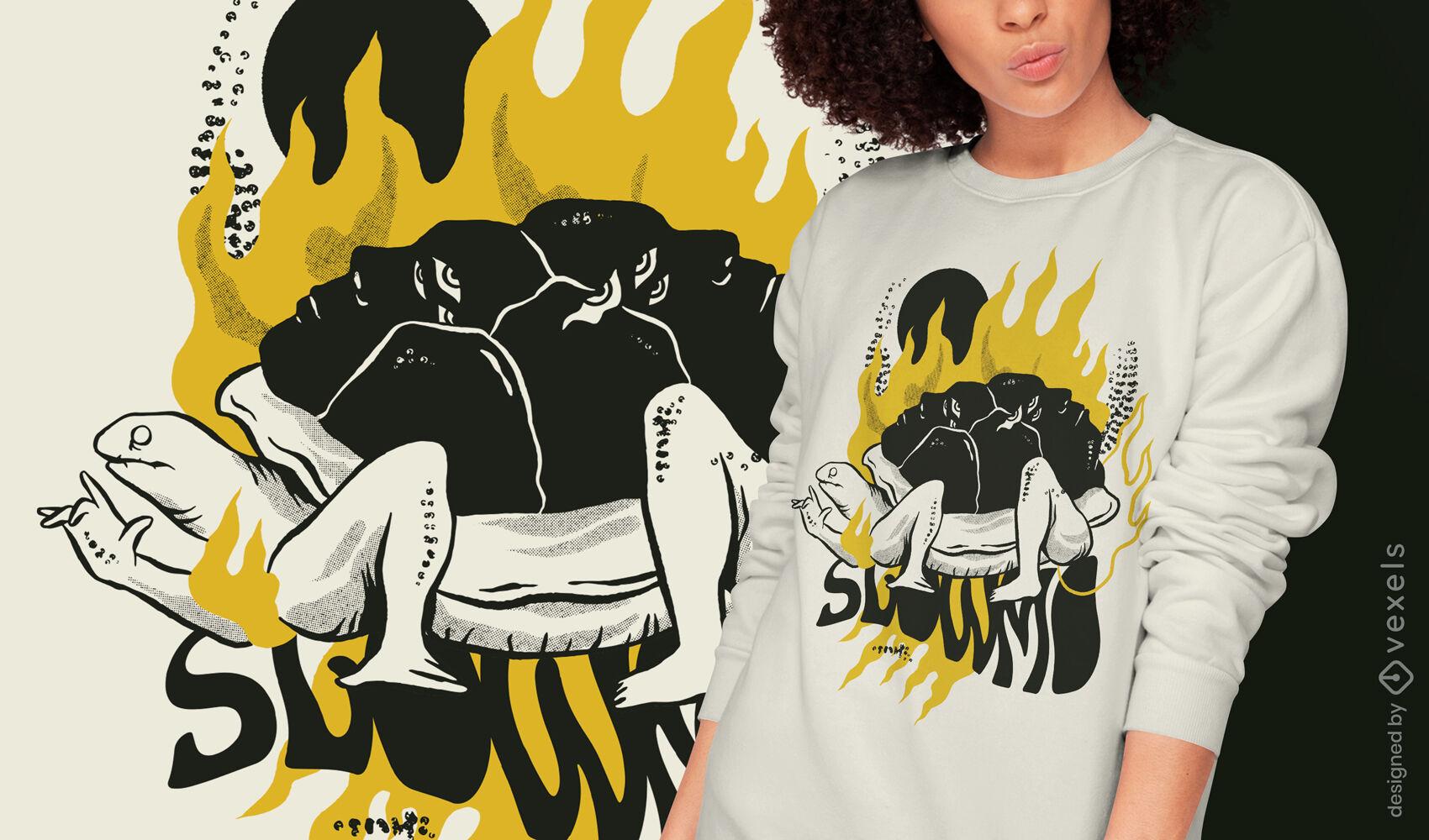 Diseño de camiseta de animal de cuerpo de tortuga extraño