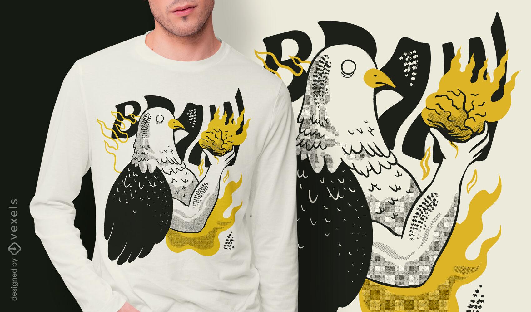 Diseño de camiseta de cuerpo de pájaro pidgeon extraño