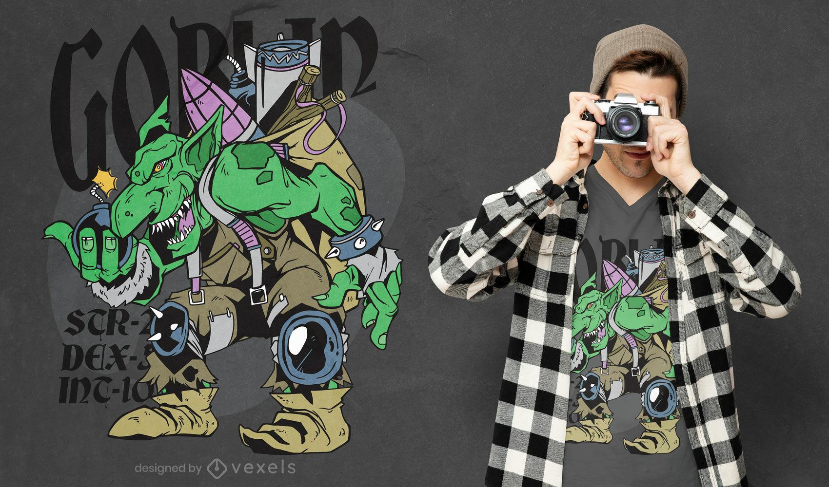 Diseño de camiseta goblin rpg fantasy monster