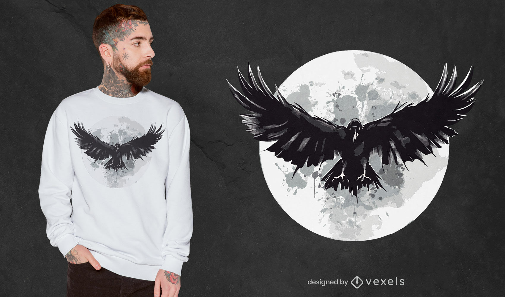 Diseño de camiseta Raven Moon