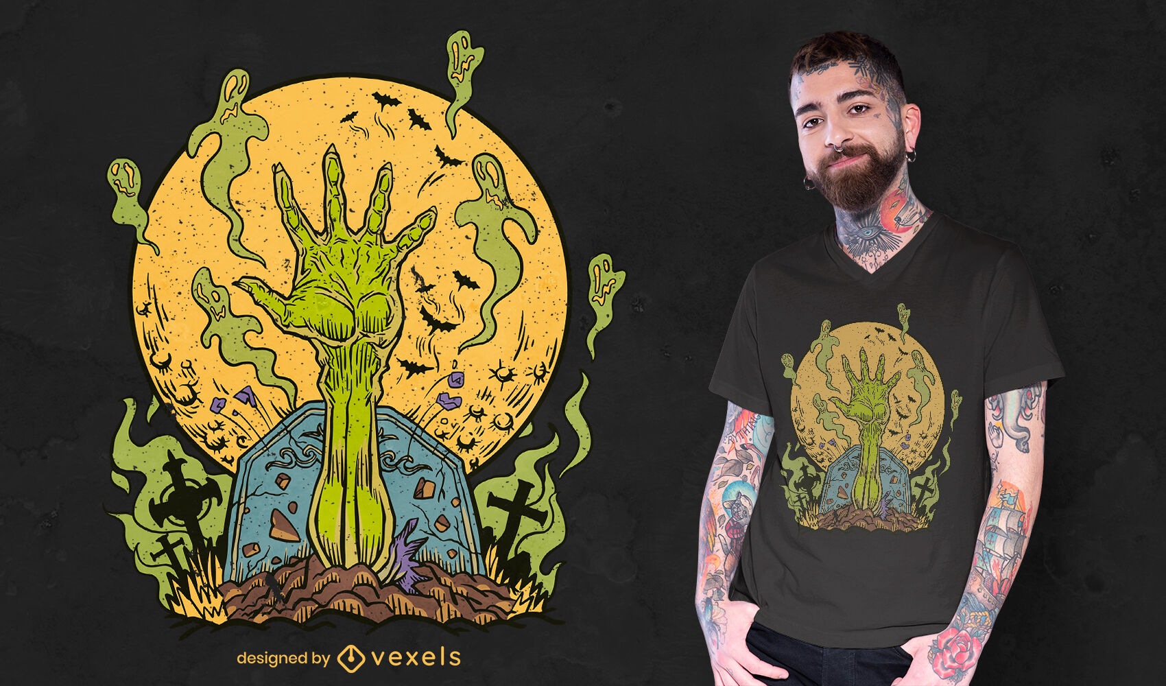 Design de t-shirt do cemitério de fantasmas de mão de zumbi