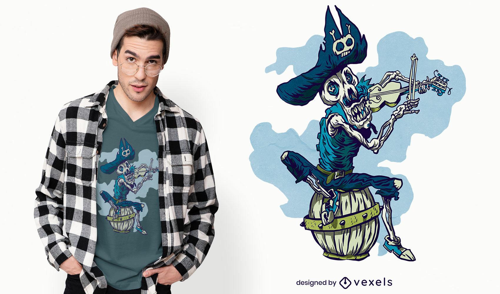 Diseño de camiseta de músico pirata esqueleto.
