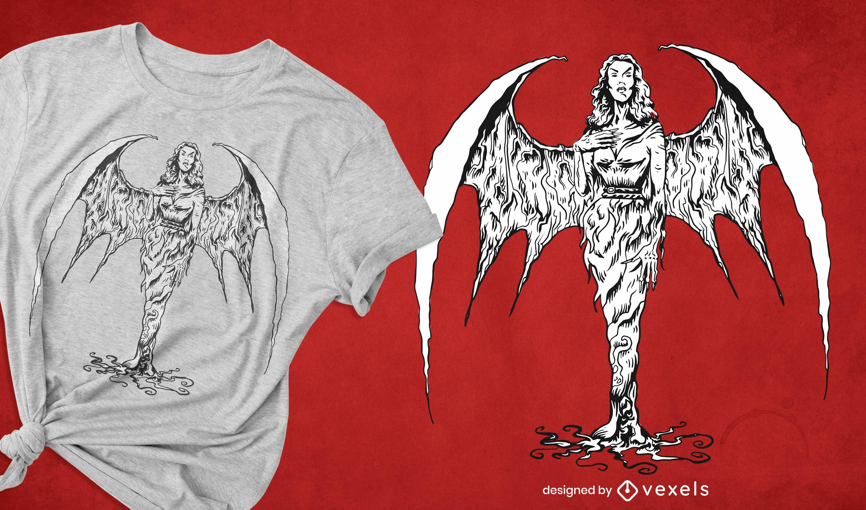 Diseño de camiseta de mujer vampiro criatura