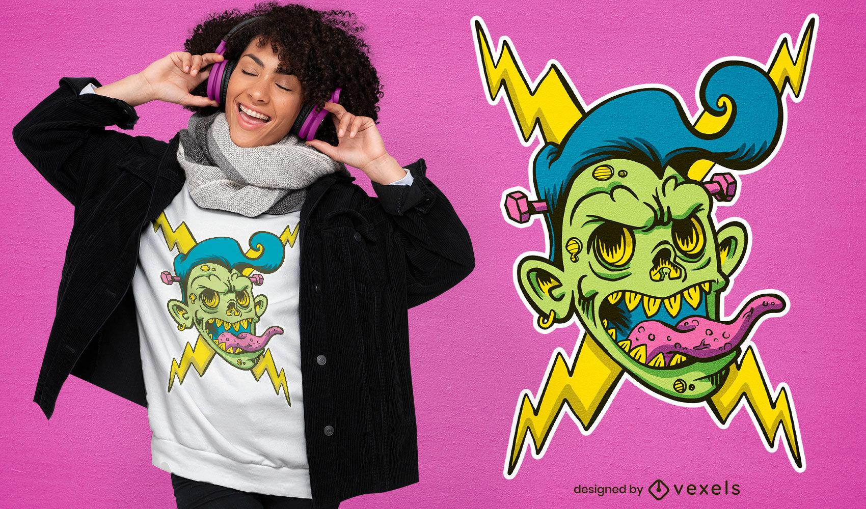 Electric zombie head t-shirt design