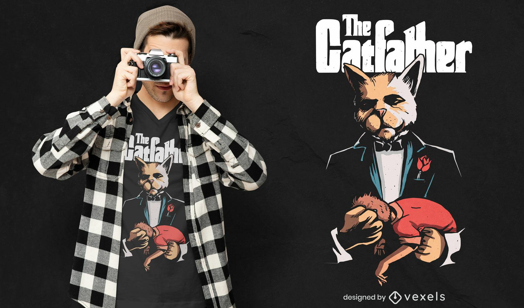 O design da camiseta catfather