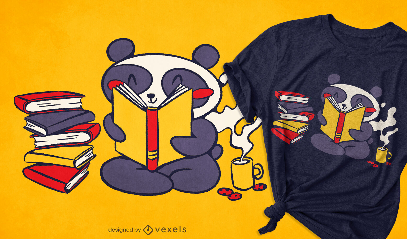 Diseño de camiseta de lectura de panda.