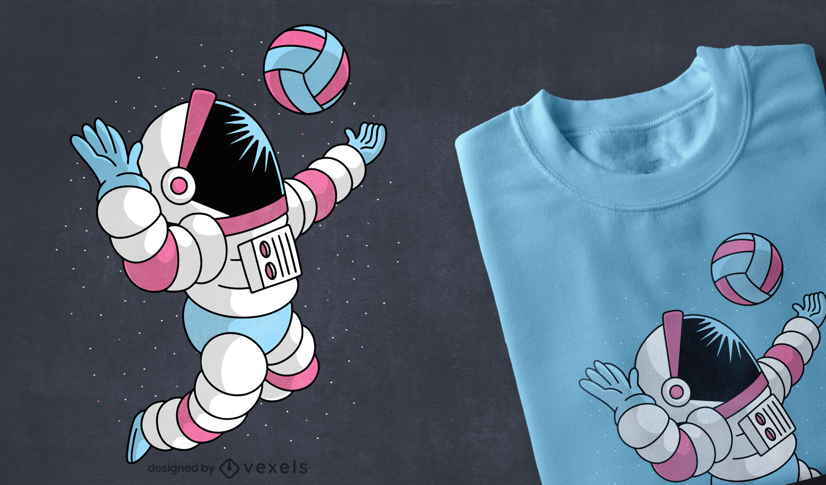 Astronauten-Weltraum-Volleyball-T-Shirt-Design