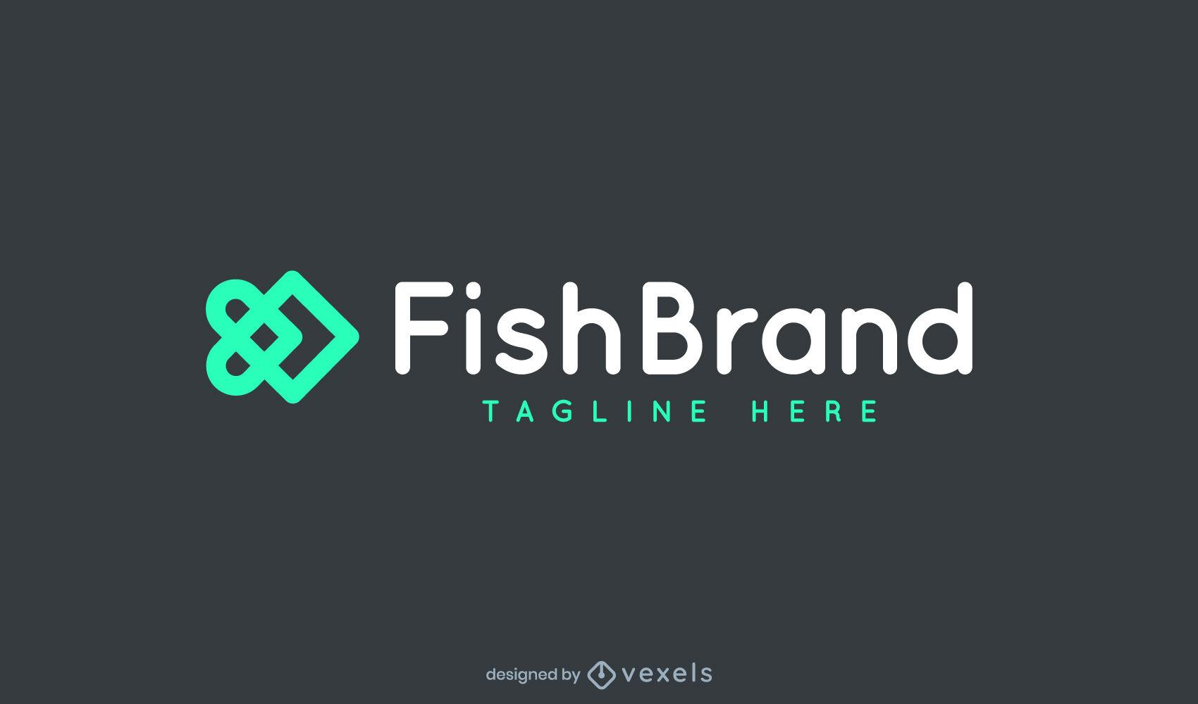 Logotipo de trazo de pez geométrico abstracto
