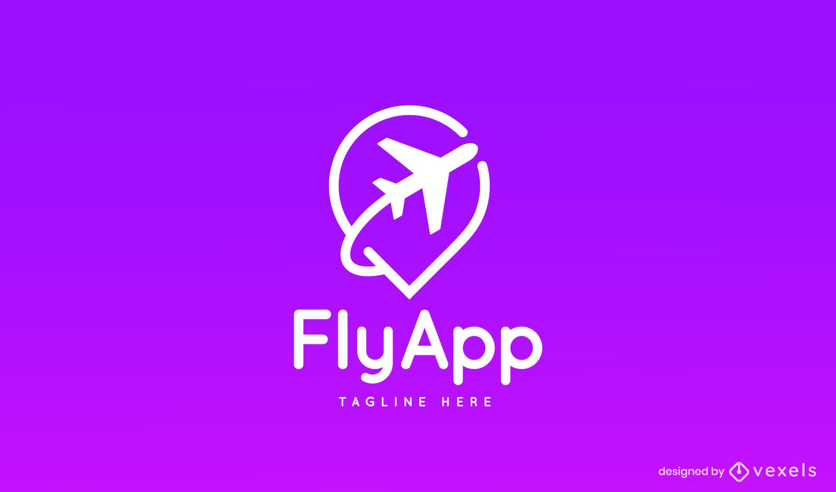 Plantilla de logotipo de viaje de silueta de vuelo de avión