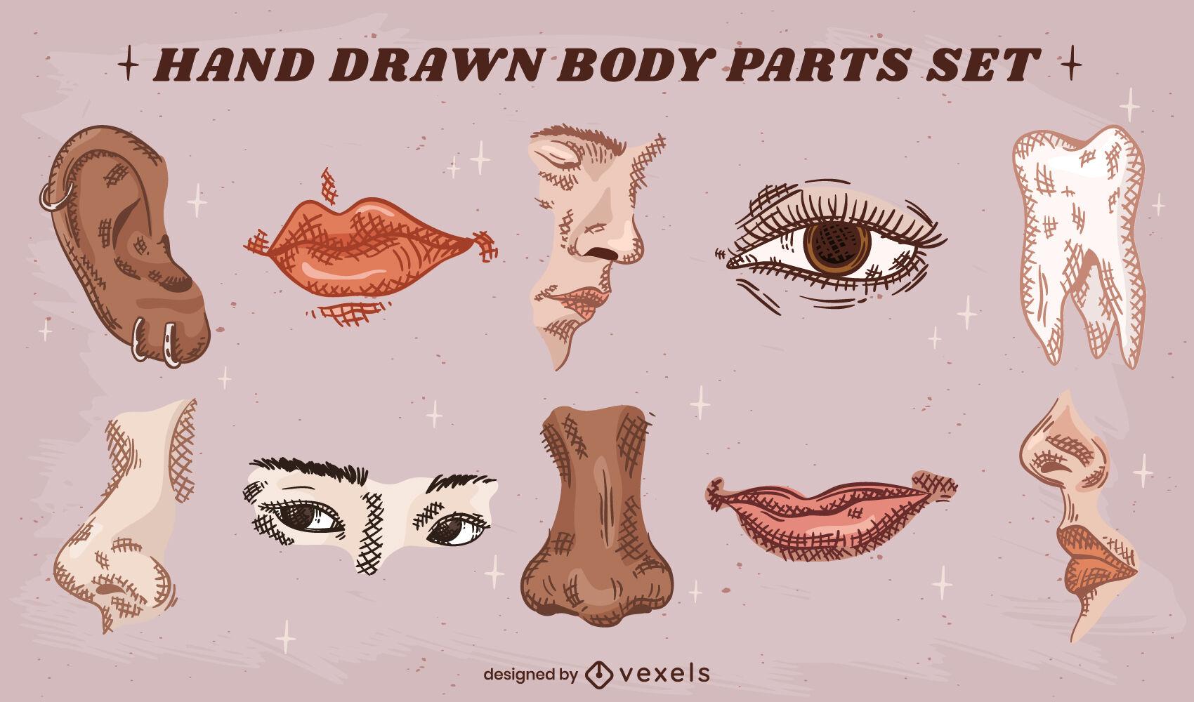 Conjunto de partes de la cara dibujadas a mano