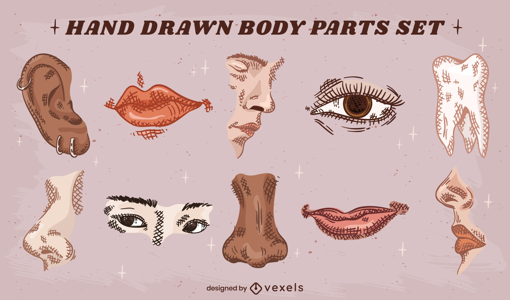Satz handgezeichneter Gesichtsteile