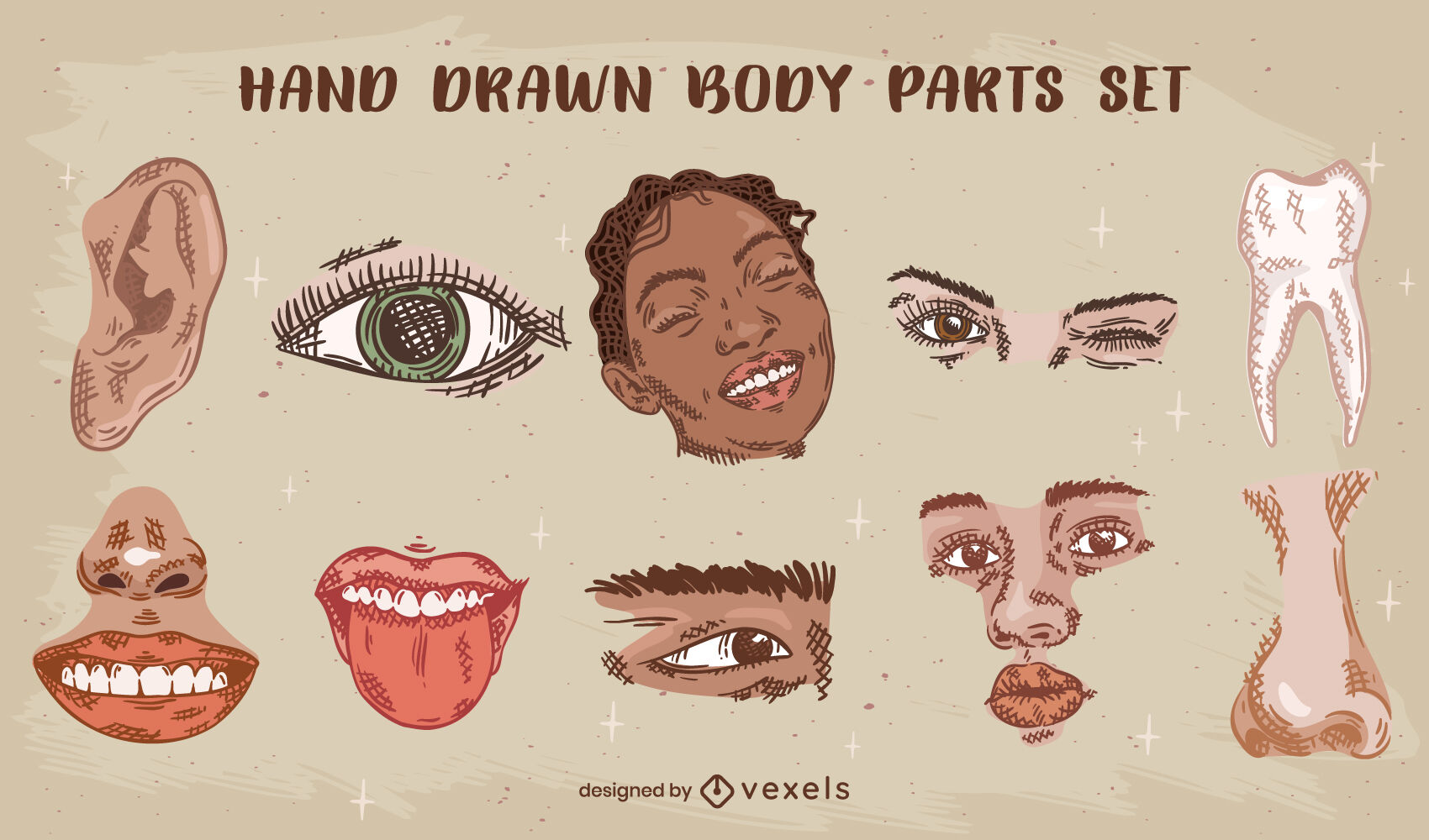 Conjunto de partes do corpo desenhadas à mão