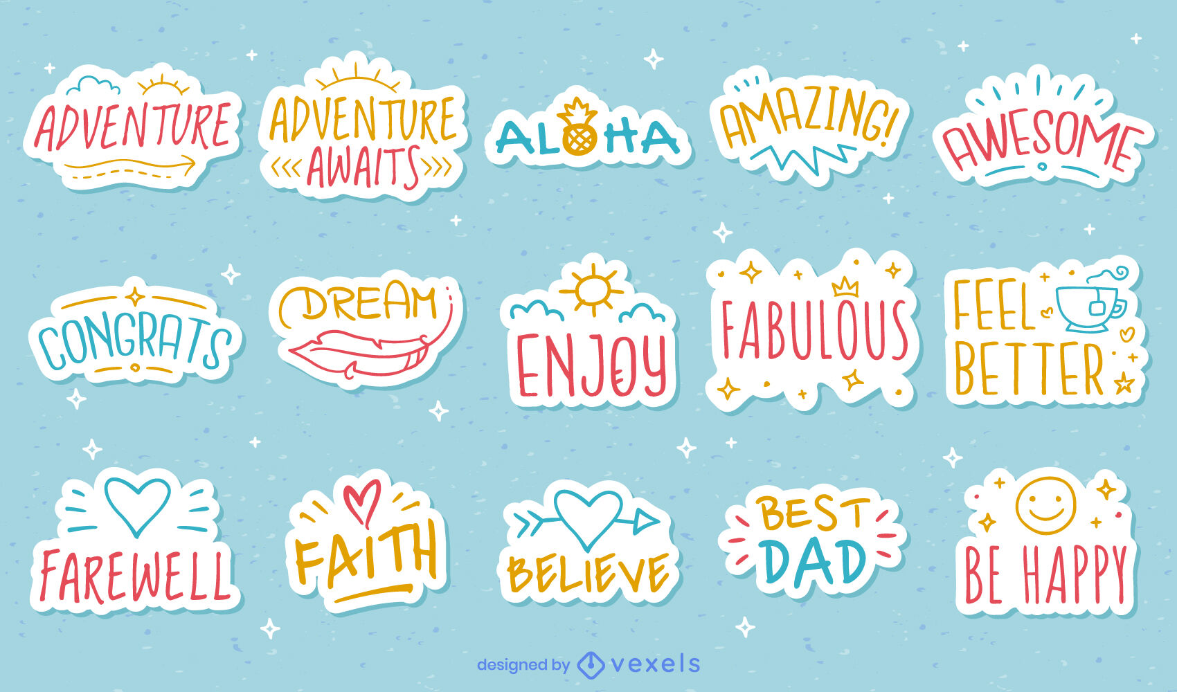 Positive motivation quotes stickers
