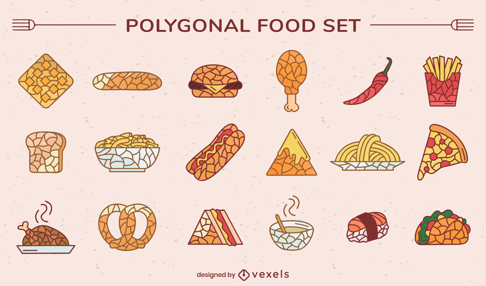 Conjunto de comida rápida poligonal