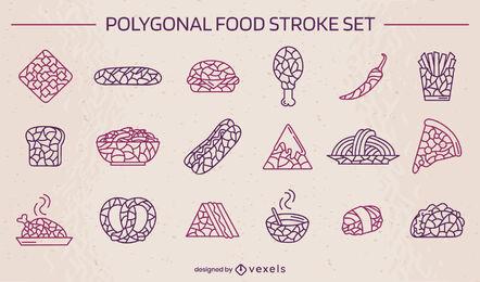 Polygonal fast food stroke set