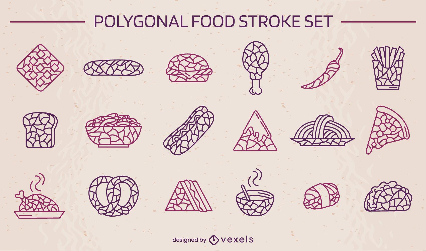 Conjunto de trazos de comida rápida poligonal