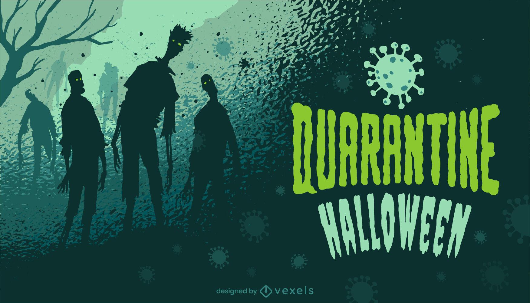 Ilustração de Halloween zumbi em quarentena