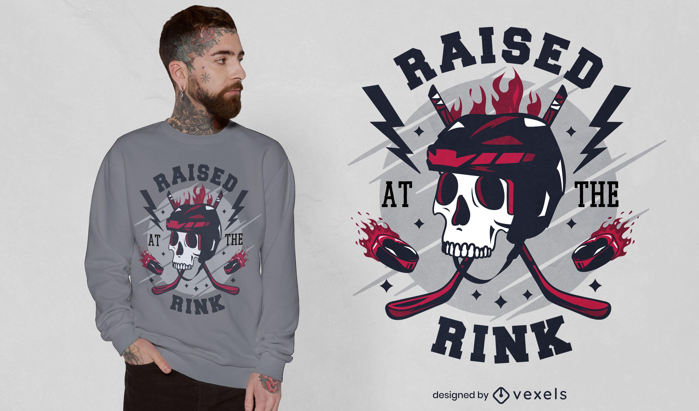 Dise?o de camiseta de calavera deportiva de hockey sobre hielo.