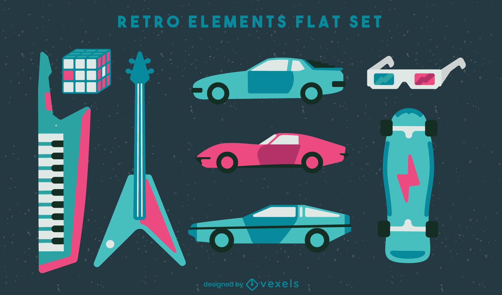 80's retro transport and music elements