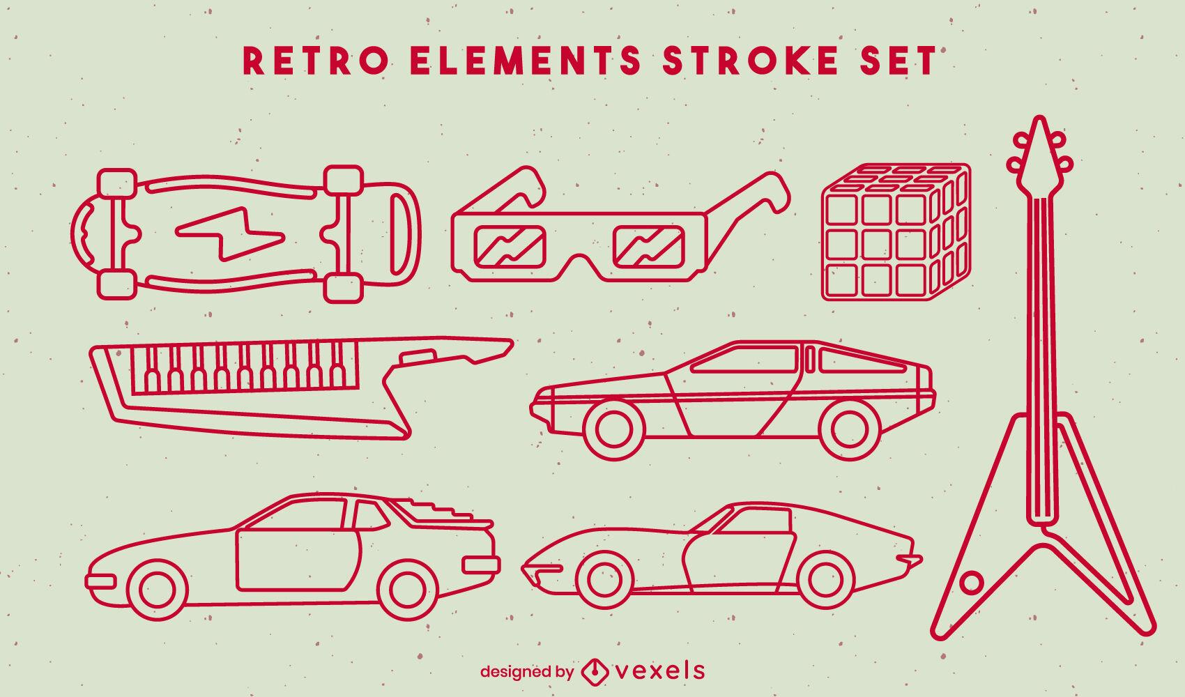 Conjunto de trazo de elementos y coches retro