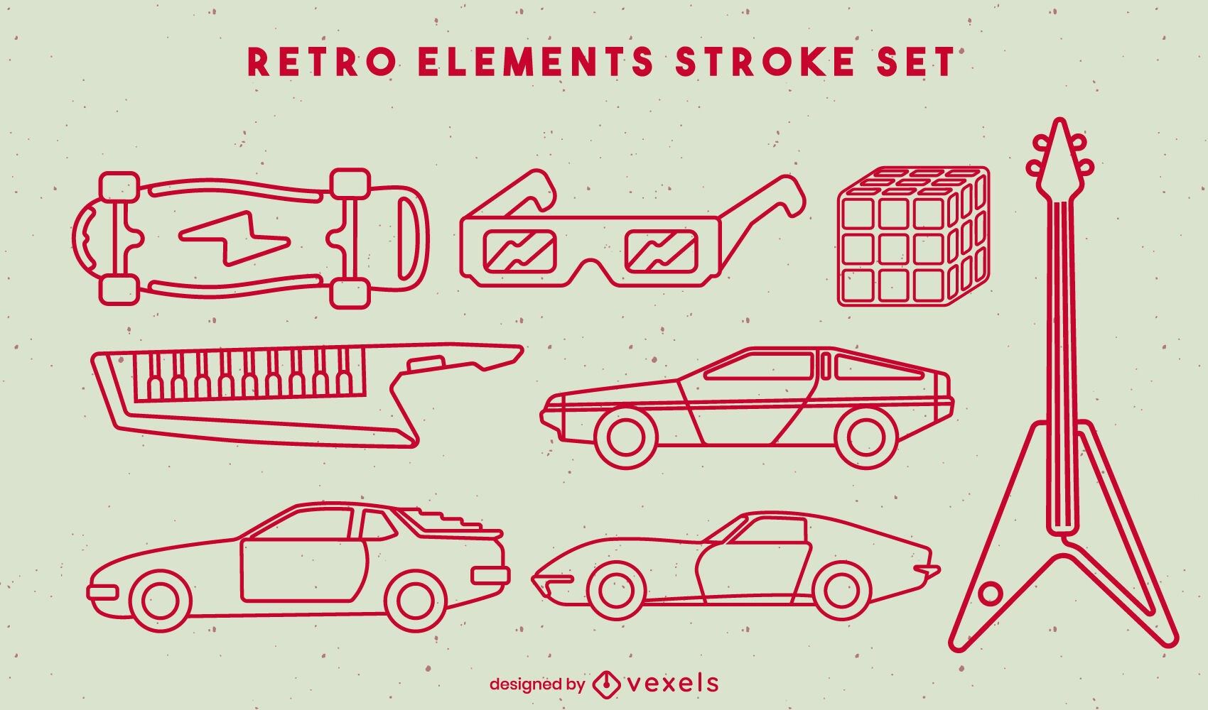 Retro cars and elements stroke set