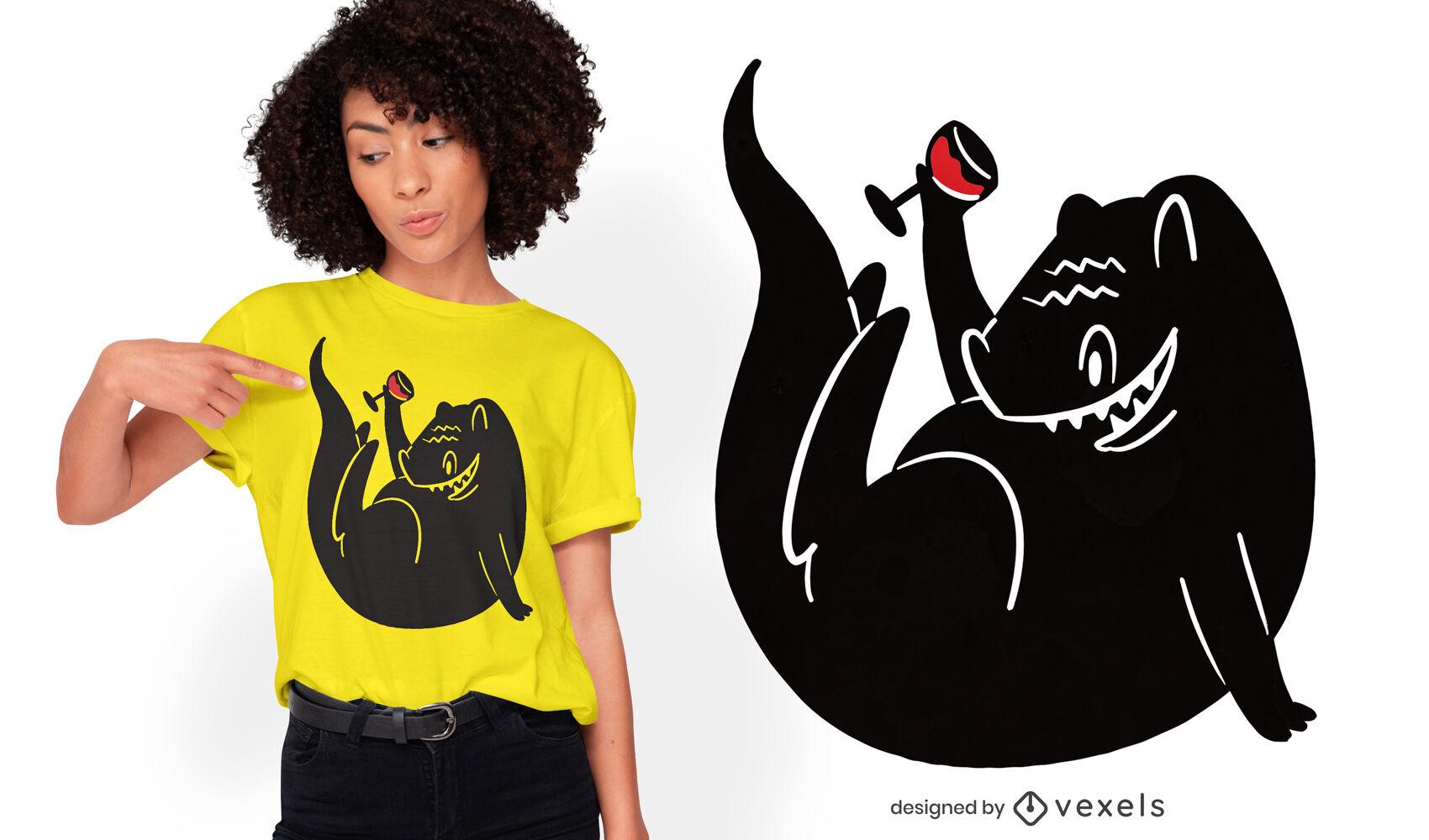 Diseño de camiseta de dinosaurio bebiendo vino.