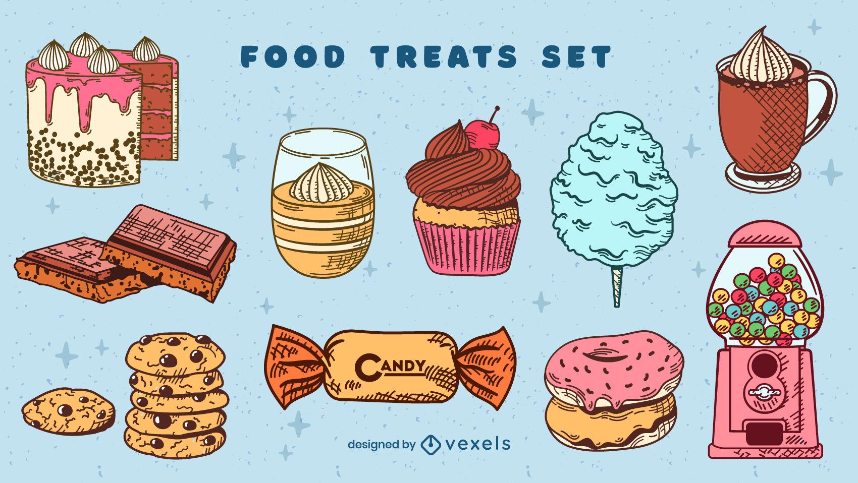 Conjunto de dulces de colores dibujados a mano
