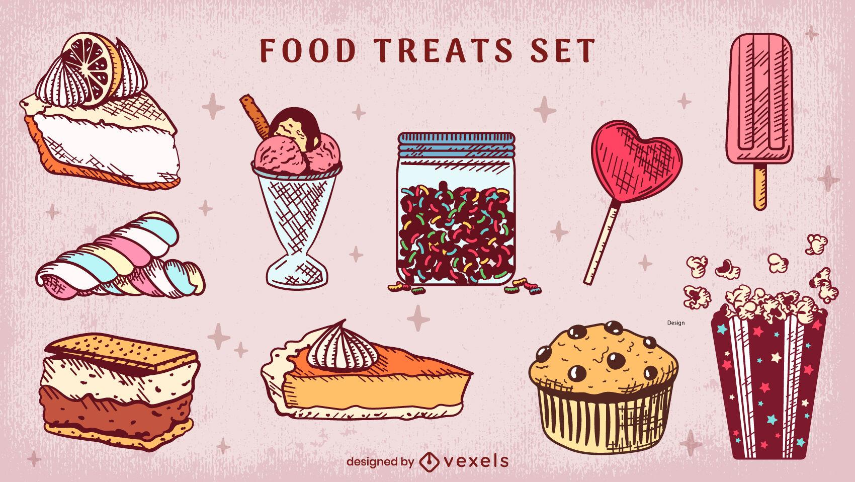 Conjunto de dulces dibujados a mano