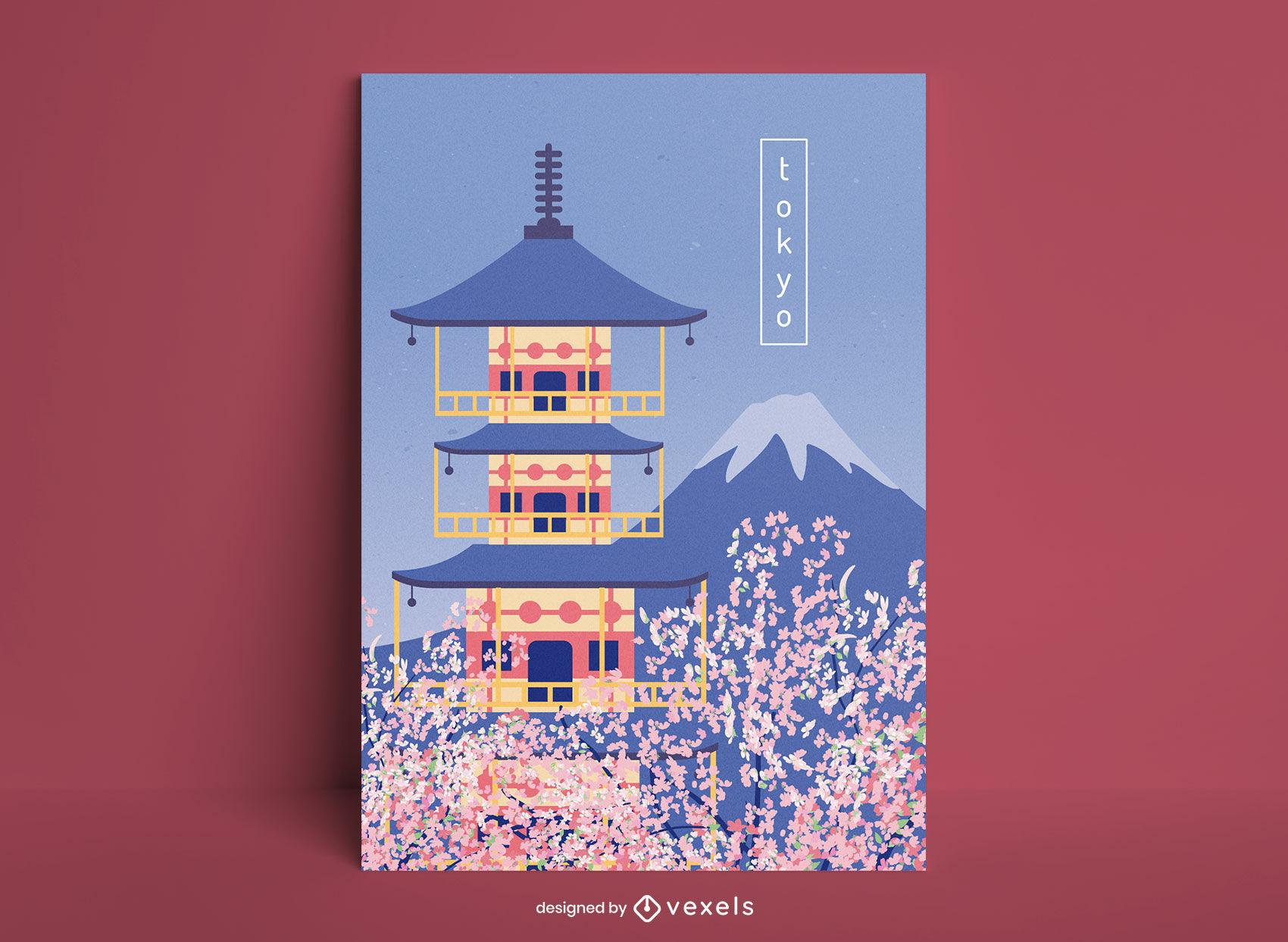 Dise?o de cartel de viaje de templo japon?s de Tokio