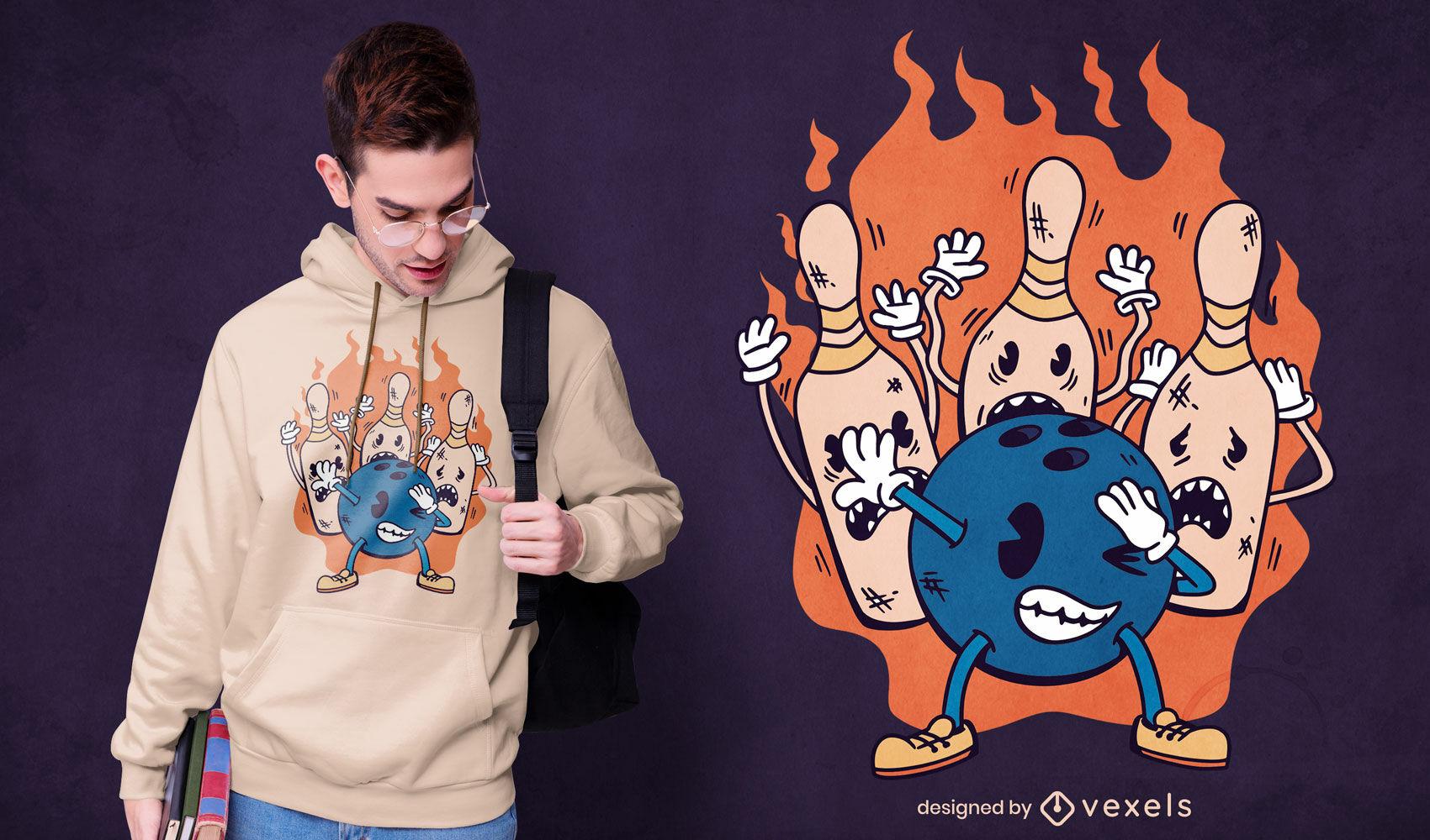 Bowling ball and pins dabbing t-shirt design
