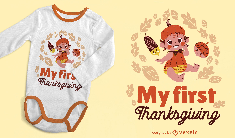 Design de t-shirt infantil com abóbora para o Dia de Ação de Graças