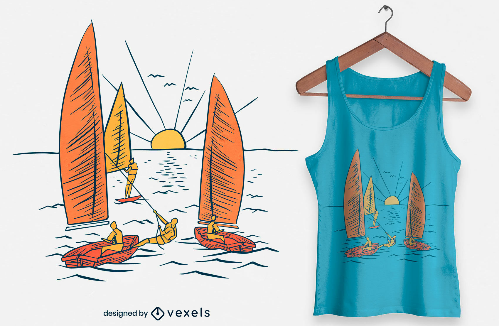 Diseño de camiseta dibujada a mano de velero.