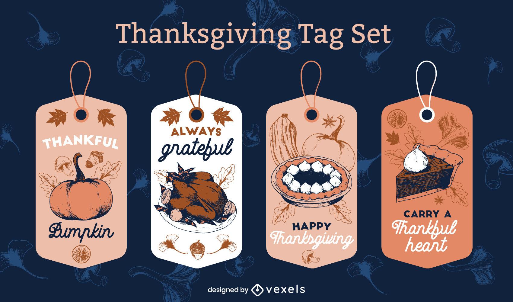 Thanksgiving traditional food tag set