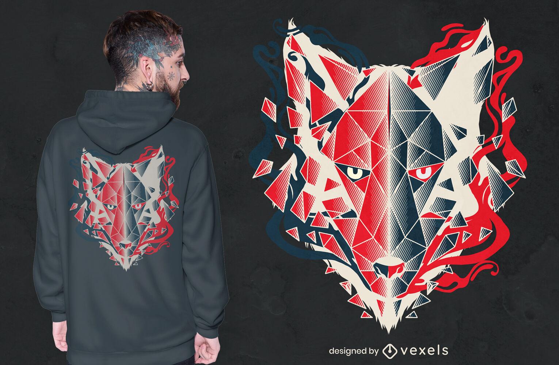 Diseño de camiseta animal poligonal cabeza de lobo.