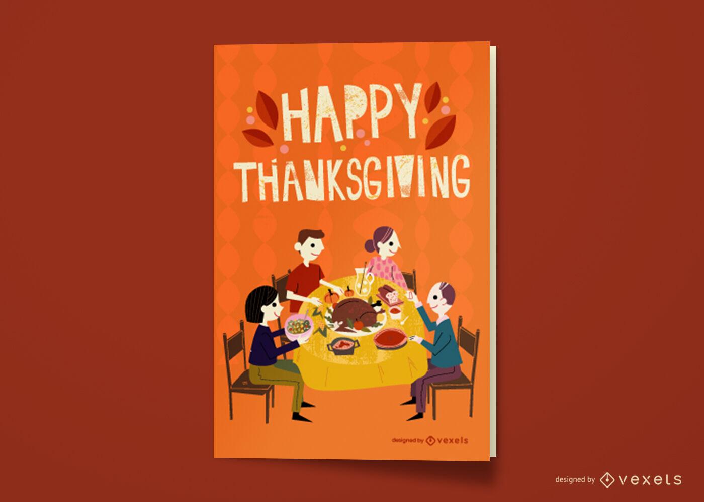 Diseño de tarjeta de felicitación de cena familiar de acción de gracias