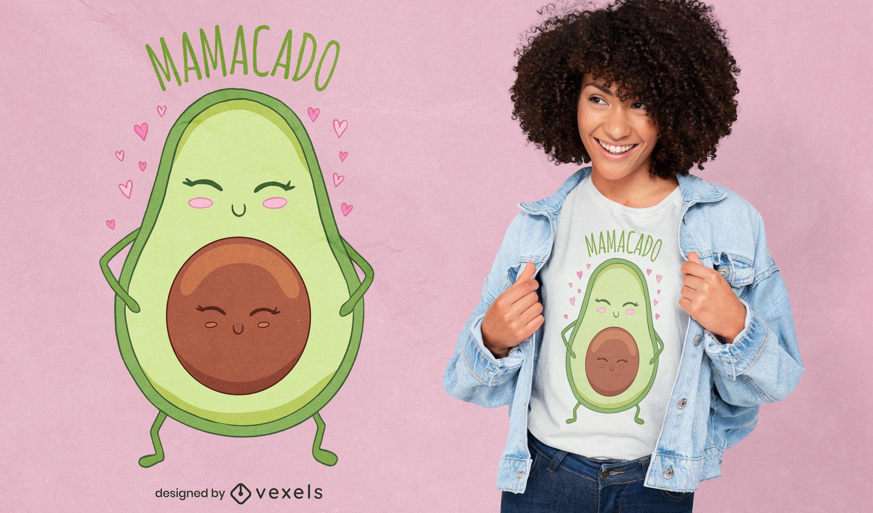 Desenho de t-shirt de desenho animado de mãe abacate fofo