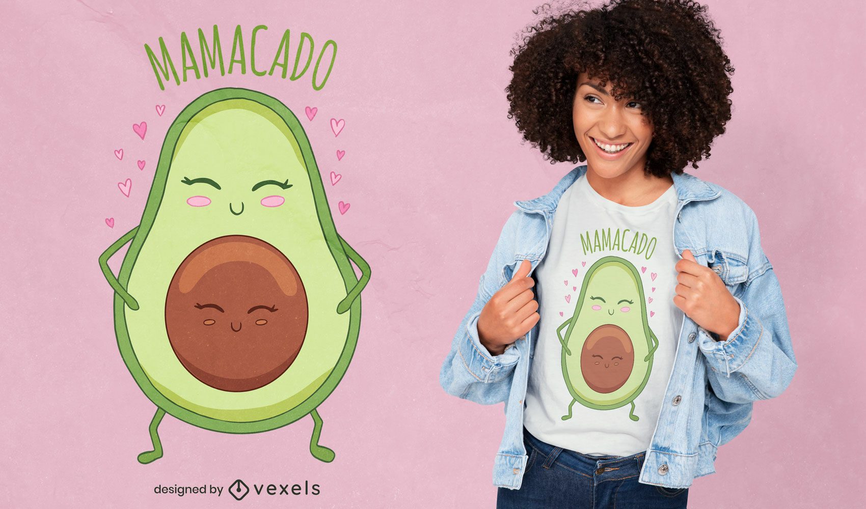 Diseño de camiseta de dibujos animados lindo mamá aguacate