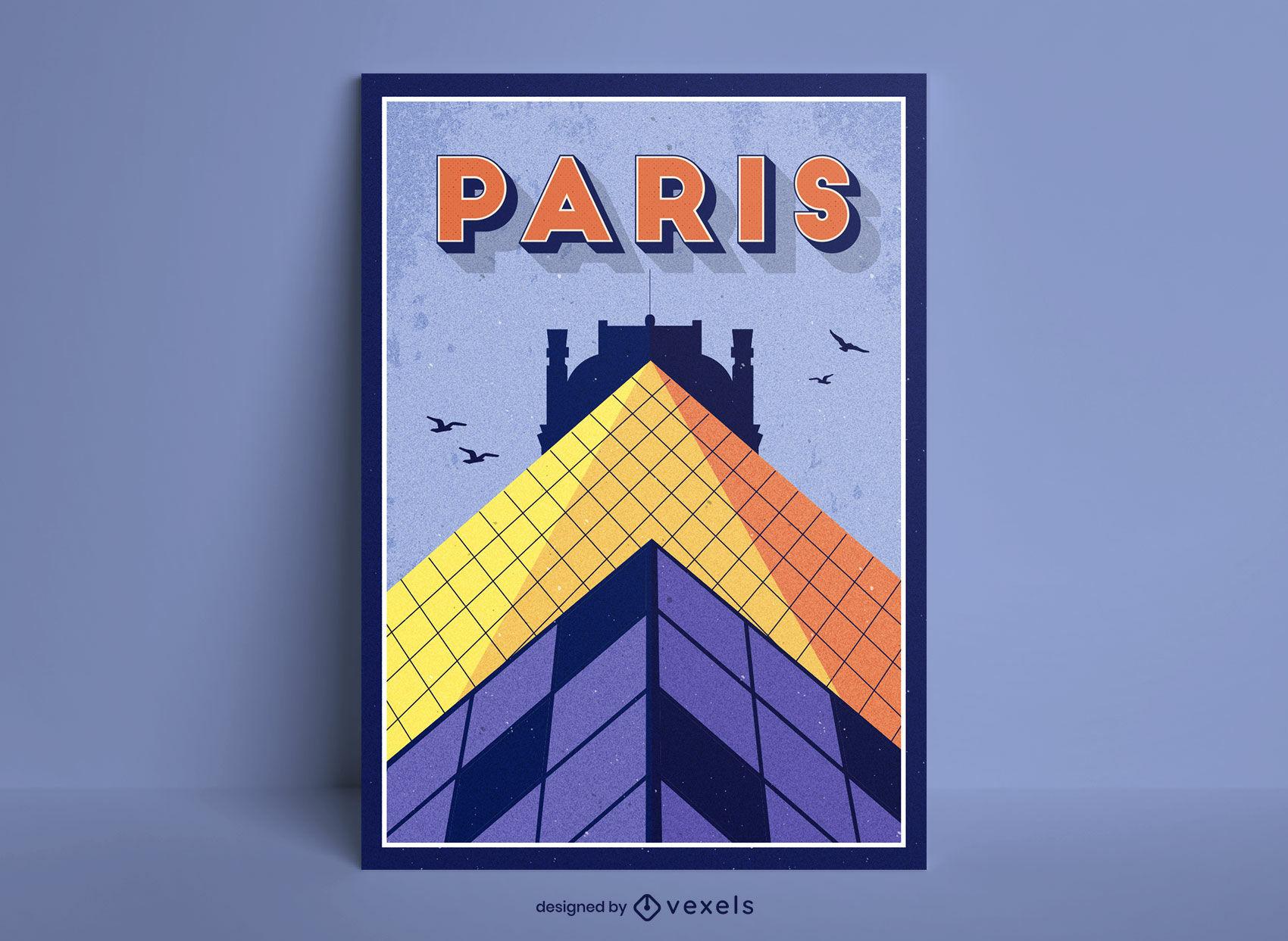 Diseño de cartel de viaje de edificio de París francia