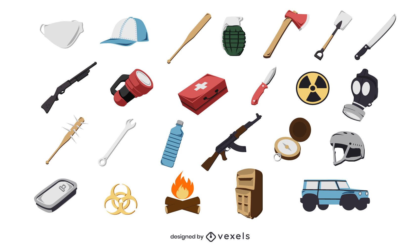Conjunto de iconos de armas de supervivencia de la naturaleza