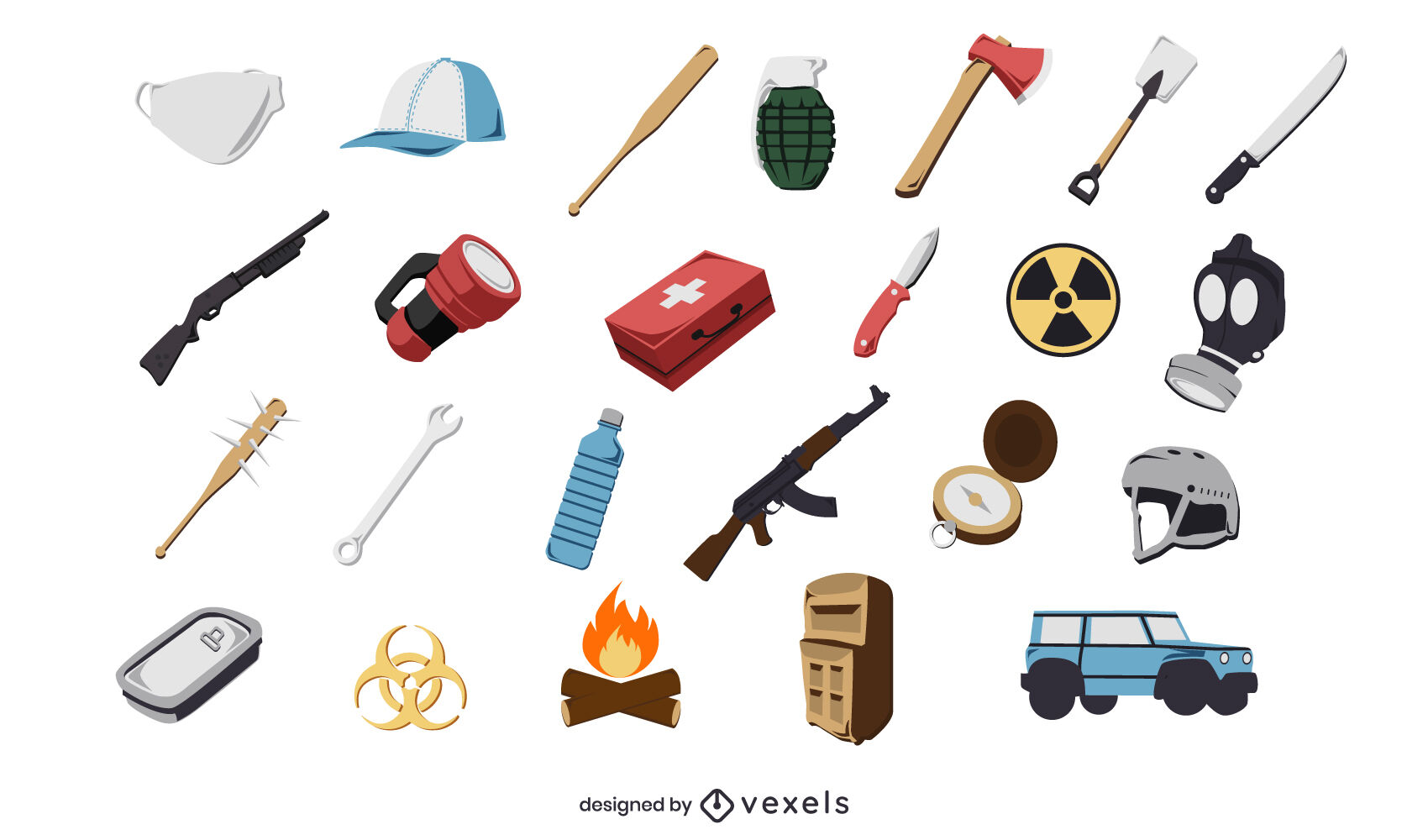 Nature survival weapons icons set
