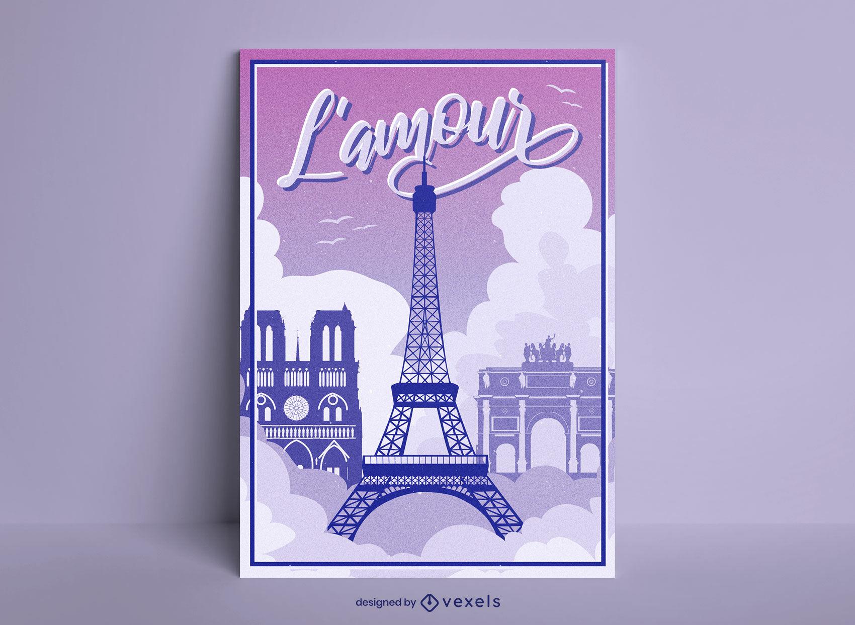 Design de pôster da Torre Eiffel em Paris França