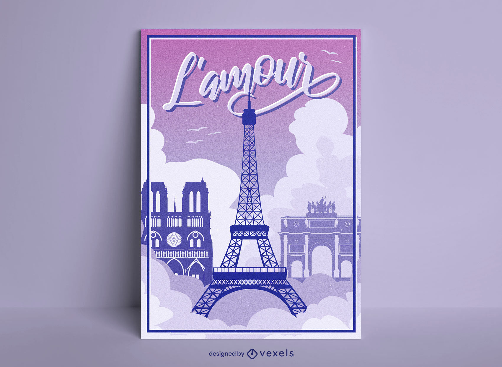 Diseño de cartel de torre eiffel parís francia