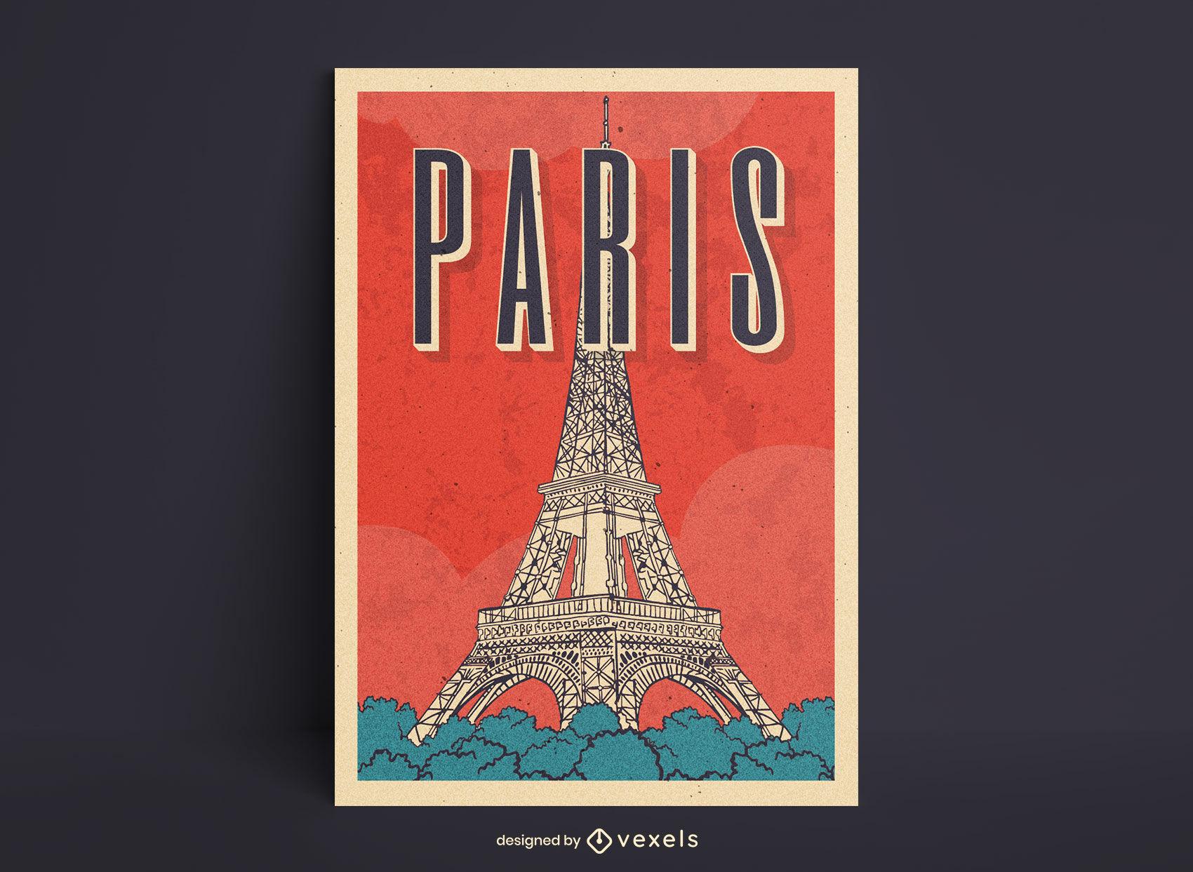 Design de pôster da linha de arte da Torre Eiffel em Paris