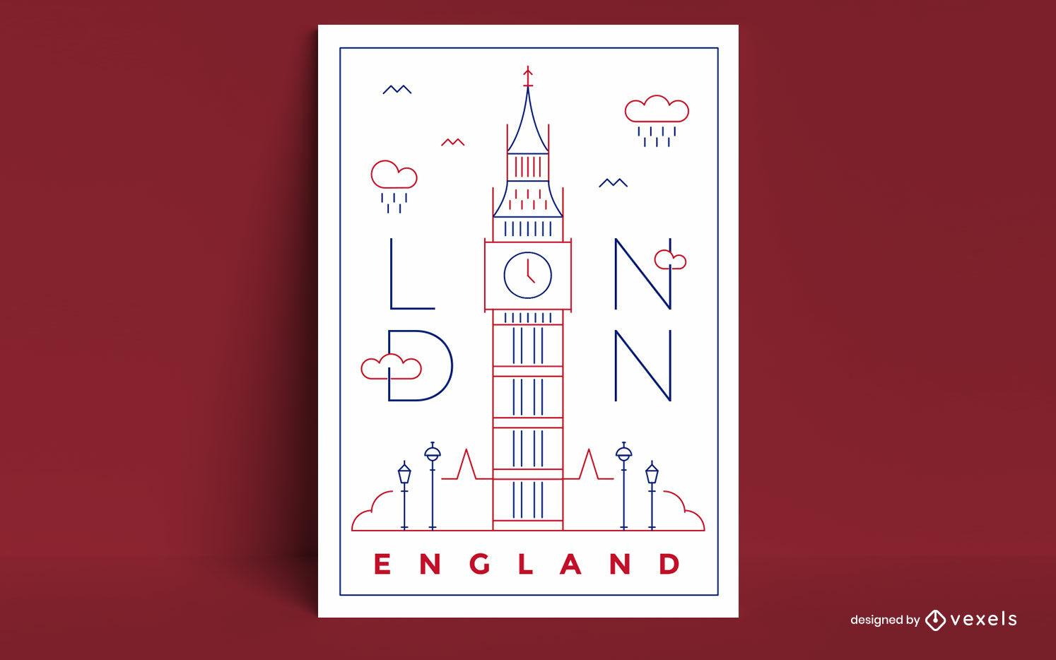 Cartaz de construção do Big Ben em Londres, Inglaterra