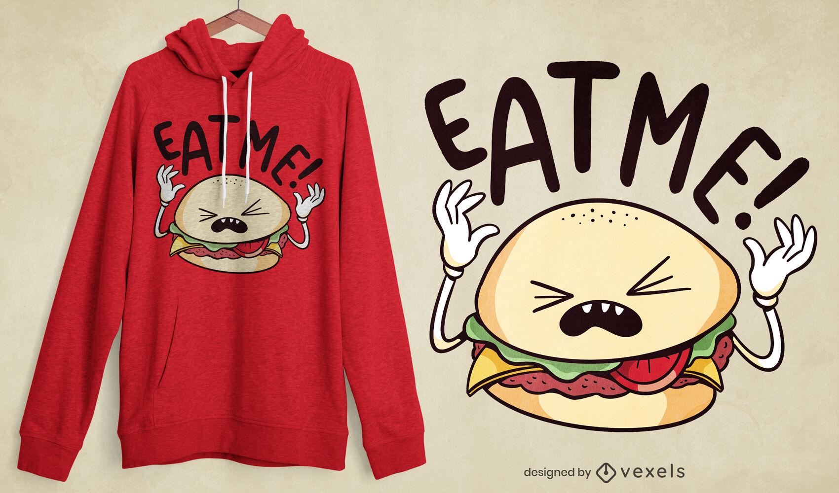 Cómeme diseño de camiseta de personaje de hamburguesa.